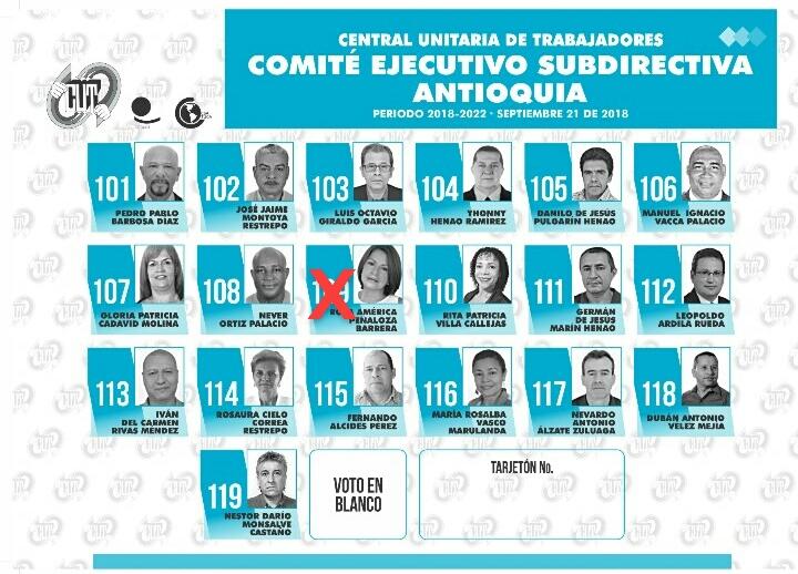 Tarjeton CUT Antioquia