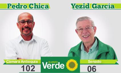 ACTIVA VISUALIZACIÓN DE IMÁGENES. Pedro Chica 102 a la Cámara por Antioquia. Yesid García 6 al Senado. Alianza Verde.